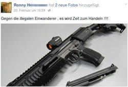 Ronny H. hat vermutlich nichts gegen Ausländer. Er will sie nur abknallen. Screenshot: Facebook