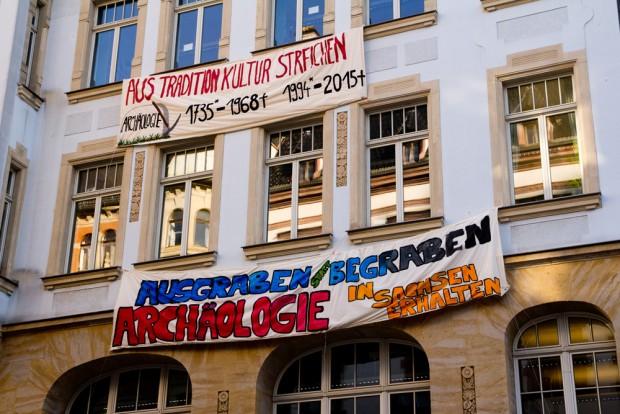 Protestplakate der Leipziger Archäologen. Foto: FSR Archäologie der Uni Leipzig