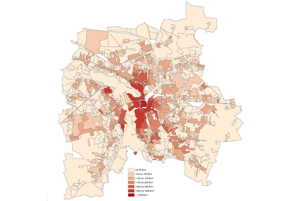 Das Bodenrichtwertniveau 2015 in Leipzig. Karte: Stadt Leipzig / Gutachterausschuss der Stadt Leipzig