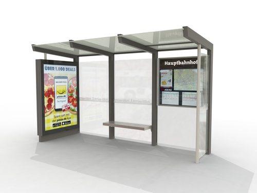 """Eines der neuen Wartehäuschen in Aachen von der Firma """"Epsilon"""" gebaut und von RBL betrieben. Foto: Stadt Aachen/RBL"""