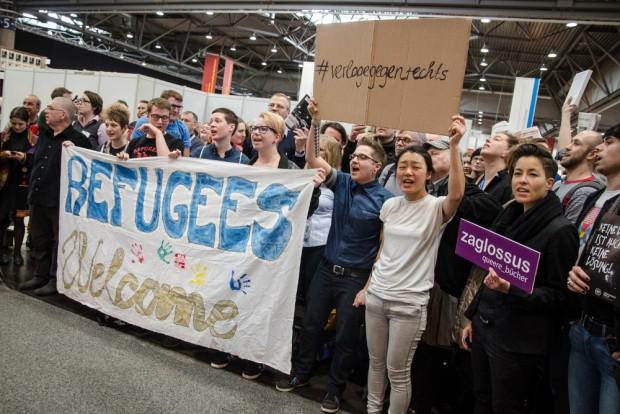 Protest gegen Compact auf der Leipziger Buchmesse. Foto: Tim Wagner