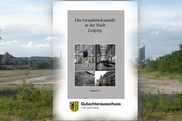 Der Grundstücksmarktbericht 2013 vor hübscher Brache. Cover: Stadt Leipzig