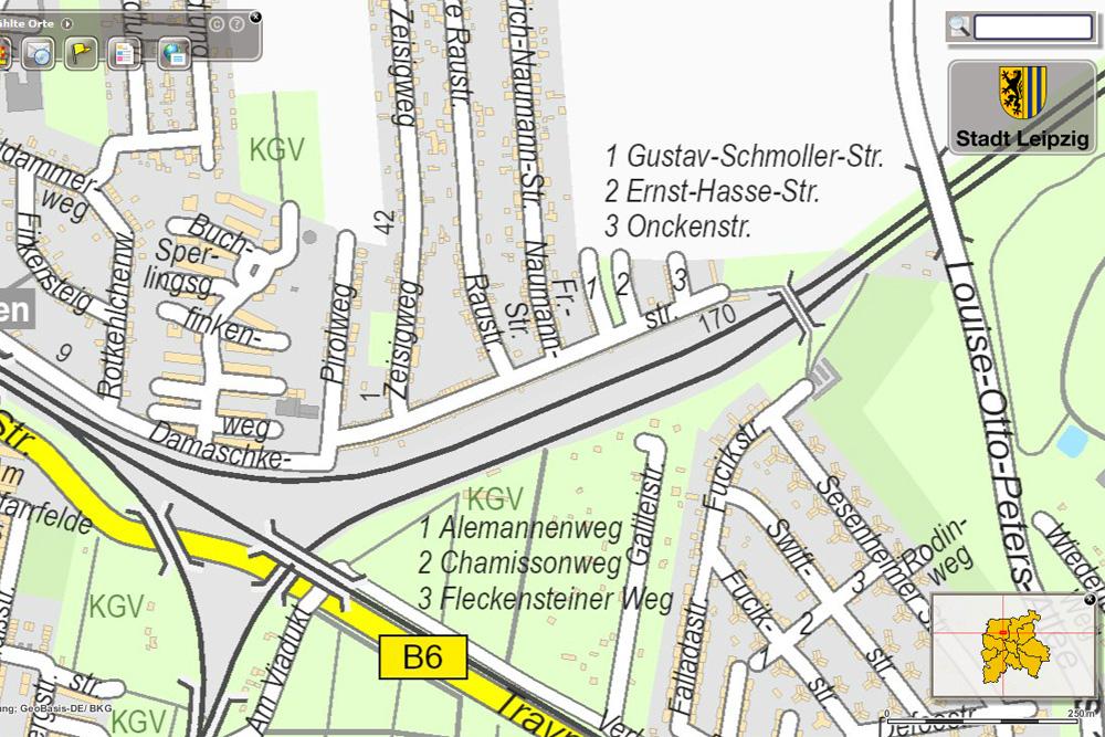 Die Ernst-Hasse-Straße auf dem Stadtplan der Stadt Leipzig. Karte: Stadt Leipzig