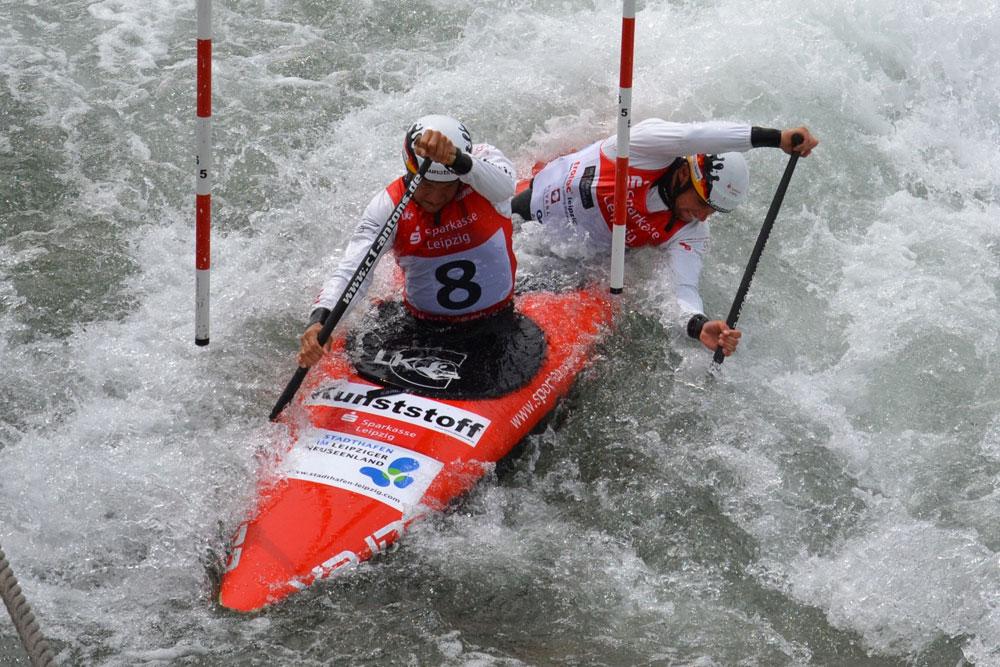 Der amtierende Weltmeister im Zweier-Canadier Franz Anton und Jan Benzien. Foto: Kanupark Markkleeberg