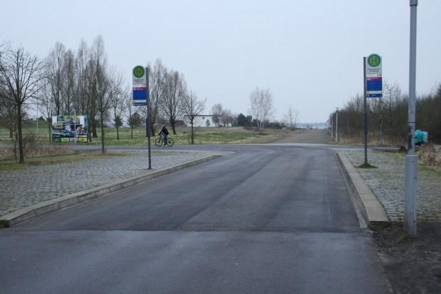 Die Bushaltestelle kurz vor der Kurve in den Lauerschen Weg. Foto: Ralf Julke