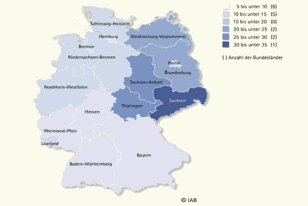 Vom Mindestlohn betroffene Betriebe nach Bundesland in Prozent. Karte: IAB