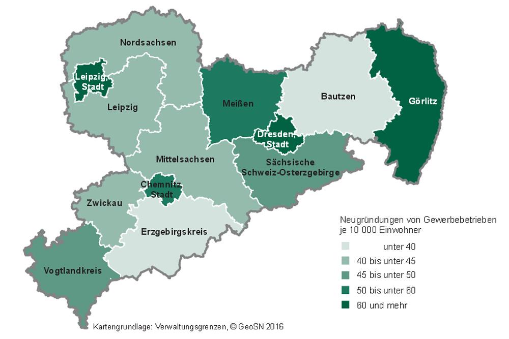Neugründungen in Sachsen 2015 nach Kreisen. Karte: Freistaat Sachsen, Statistisches Landesamt