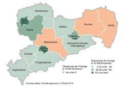 Wanderungssaldo in Sachsens Kreisen und Kreisfreien Städten 2014. Karte: Stadt Leipzig/Amt für Statistik und Wahlen, GeoSN 2015