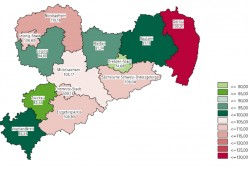 Sozialstrukturindex Sachsen 2013. Karte: Freistaat Sachsen, SMS