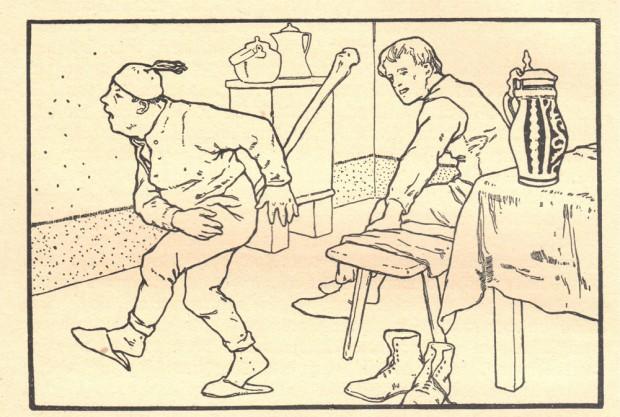 Grimm-Illustration von Otto Ubbelohde: Knüppel aus dem Sack. Repro: Museum Brüder-Grimm-Haus in Steinau an der Straße