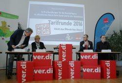 Pressekonferenz zur neuen Tarifrunde 2016. Foto: Ralf Julke