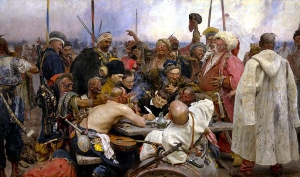 Am Beginn der türkisch-russischen Konflikte im 17. Jahrhundert. Die Kosaken suchen nach den schlimmsten Beleidigungen. Maler: Ilja Jefimowitsch Repin. Quelle Wikipedia, Bild gemeinfrei