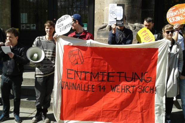 Protest gegen Entmietung in der Jahnallee. Foto: René Loch