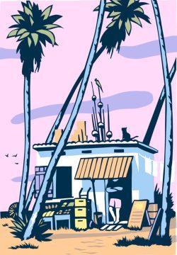 Janta-Island mit Katze und Palmen. Grafik: Phillip Janta