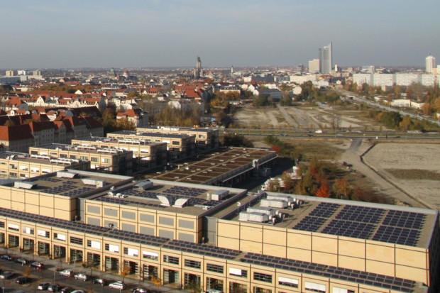 Blick vom MDR-Hochhaus Richtung Stadtmitte. Foto: Matthias Weidemann