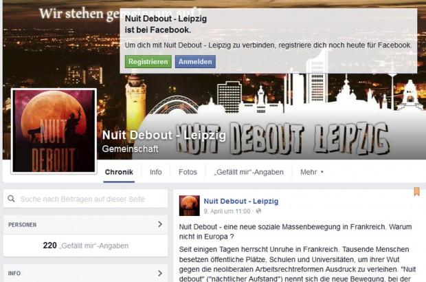 """Der Facebook-Auftritt von """"Nuit debout"""" Leipzig. Screenshot: L-IZ"""