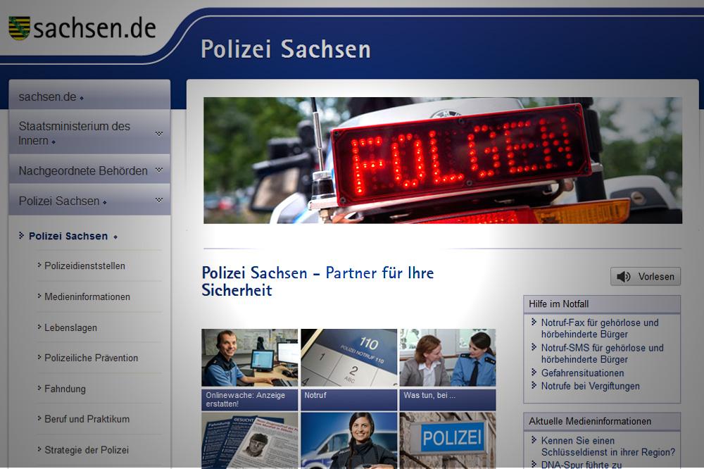 Website der Polizei Sachsen. Screenshot: L-IZ