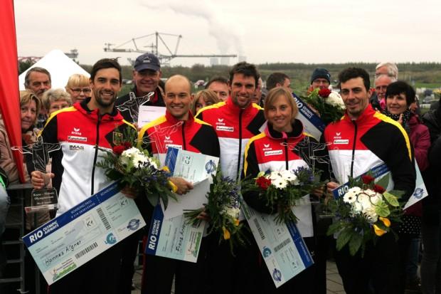 Diese fünf gehen in Rio auf Medaillenjagd (v.l.n.r): Hannes Aigner, Franz Anton, Jan Benzien, Melanie Pfeifer, Sideris Tasiadis Foto: Sebastian Beyer