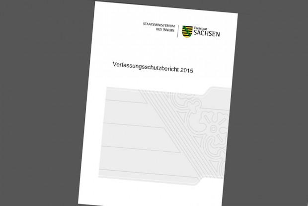 Verfassungsschutzbericht 2015. Cover: Freistaat Sachsen, Landesamt für Verfassungsschutz