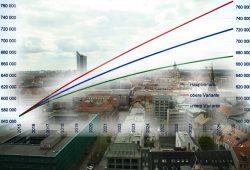 Prognostiziertes Bevölkerungswachstum für Leipzig bis 2030 in drei Varianten. Grafik: Stadt Leipzig, Amt für Statistik und Wahlen