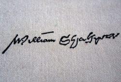 Shakespeares Unterschrift, eingesammelt auf der Leipziger Buchmesse. Foto: Leo Leu