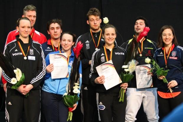 Alle Medaillengewinner im Degen-Einzel auf einen Blick. Foto: Jan Kaefer