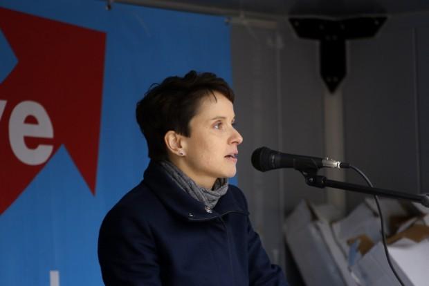 Die AfD-Vorsitzende Frauke Petry war dieses Mal nicht betroffen und schwieg bislang zum Vorgang. Ihre Adresse reichte am Nachmittag des 1. Mai ein Indymedianutzer nach. Foto: L-IZ.de