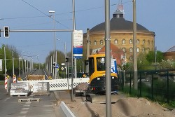 Haltestellenumbau in der Richard-Lehmann-Straße. Foto: Pro Bahn e.V., LV Mitteldeutschland