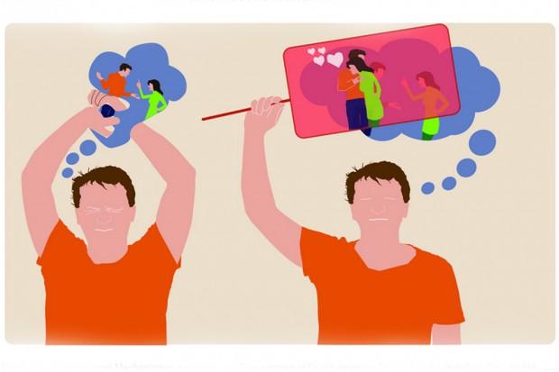 Prinzipiell scheint es zwei Mechanismen zu geben, um Erinnerungen aktiv aus unserem Gedächtnis zu streichen: Das direkte Unterdrücken der ungewollten Erinnerung (links) und das Ersatz-Erinnern (rechts), bei dem der ungewollte Gedächtnisinhalt durch einen anderen ersetzt wird. Grafik: Myriam Benoit