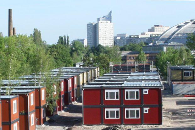 Containerunterkunft An den Tierkliniken. Foto: Ralf Julke