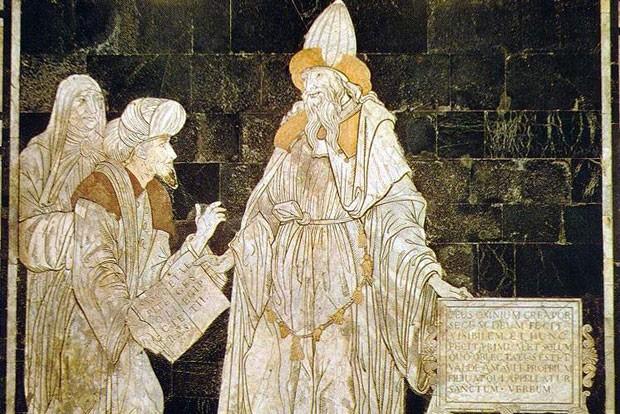 Hermes Trismegistus, Fußbodenmosaik im Dom von Siena. Foto: gemeinfrei
