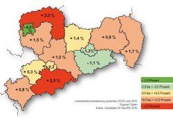 Entwicklung der Leerstandsquote bei sächsischen Wohnungsgenossenschaften. Karte: VSWG