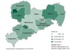 Marginale Beschäftigung in Sachsen 2014. Karte: Freistaat Sachsen, Landesamt für Statistik