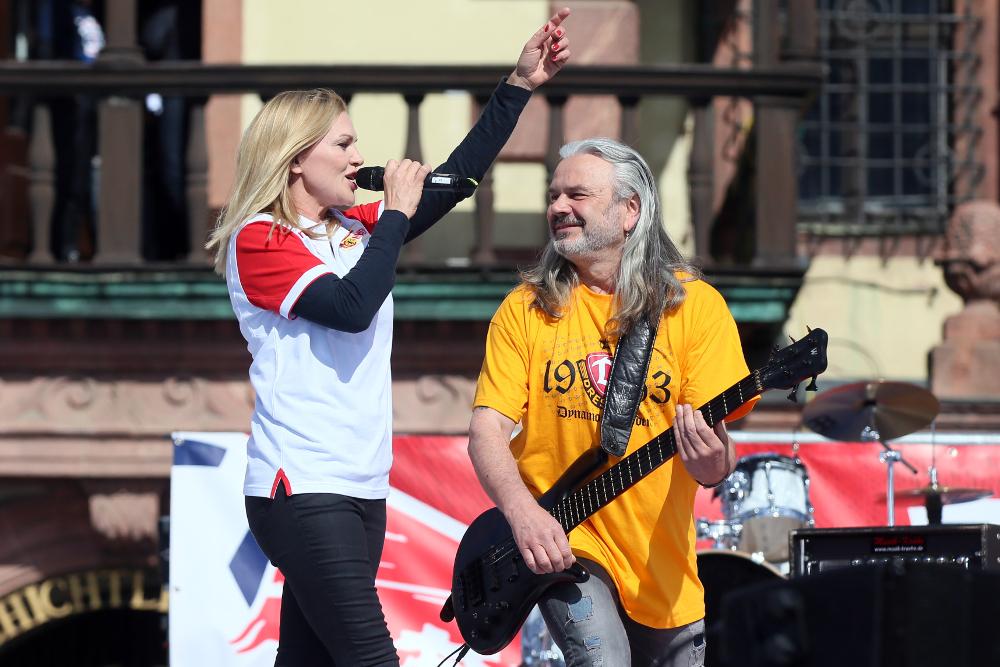 Auftritt der Band Silly auf der Aufstiegsfeier von RB Leipzig. Foto: GEPA pictures
