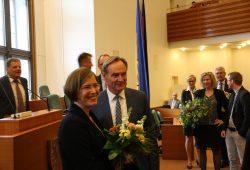 Skadi Jennicke (Die Linke) und OB Burkhard Jung kurz nach der Wahl am 18. Mai 2016. Foto: L-IZ.de