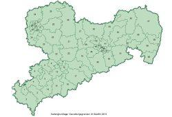 Die Wahlkreiseinteilung zur Landtagswahl 2014. Karte: Freistaat Sachsen, Landesamt für Statistik