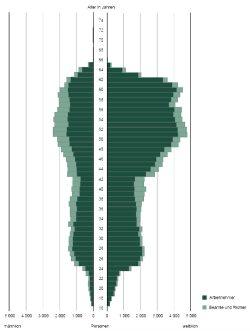 Alterspyramide der sächsischen Staatsbediensteten. Grafik: Freistaat Sachsen, Statistisches Landesamt