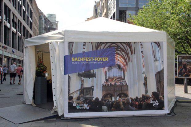 Das Bachfest-Foyer in der Petersstraße. Foto: Bachfest Leipzig, Sandra Schmidt
