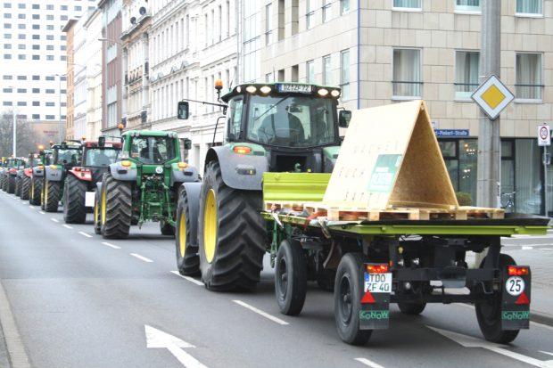 Bauernprotest im März 2016 in Leipzig. Foto: Ralf Julke