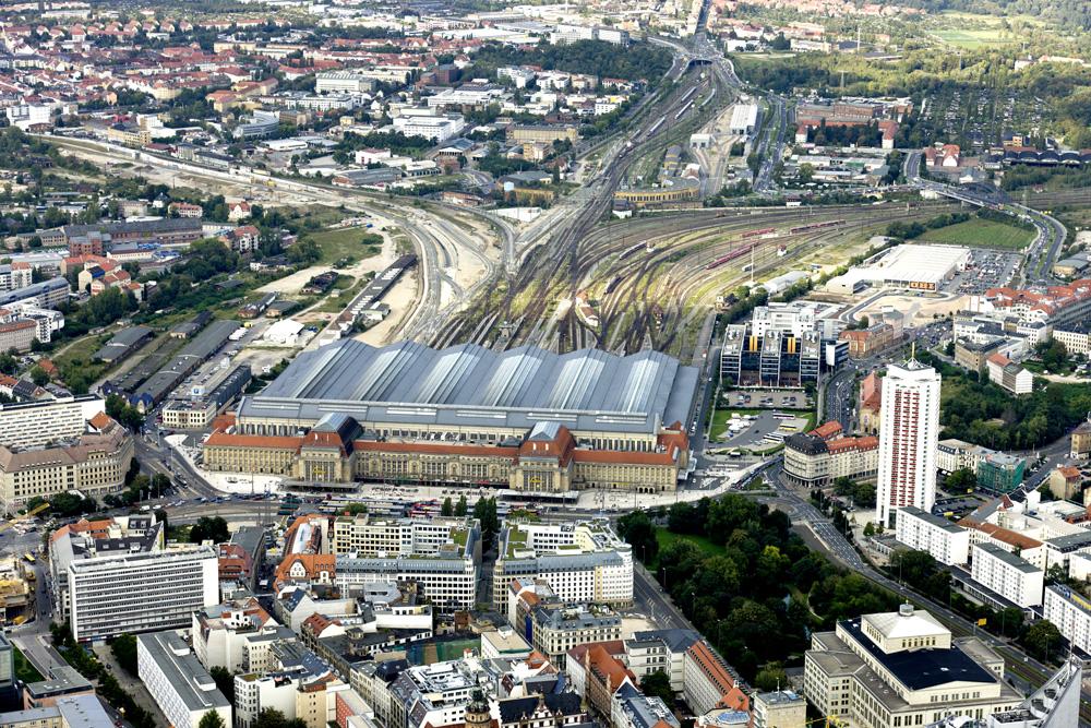 Leipzigs Hauptbahnhof aus der Vogelperspektive. Foto: Matthias Weidemann