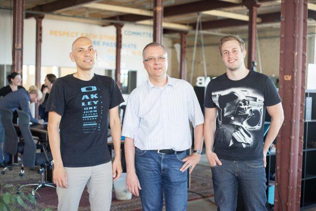 "Team ""Hotris"" - Alex Canariov, Volker Dahm und Paul Klemm (v.l.). Foto: Kristina Denhof/ HTWK Leipzig"