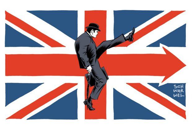 Nach Brexit nun der Lexit! Auf gehts! Karikatur: Schwarwel
