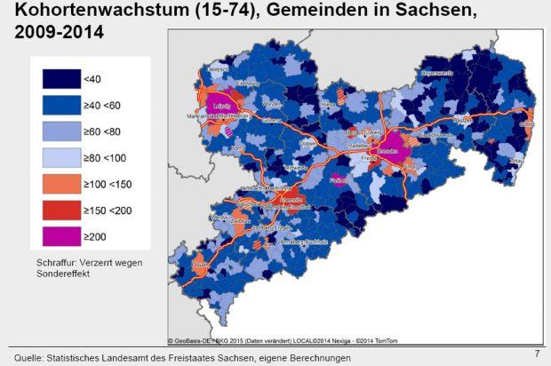 Schwarmstädte und versteckte Perlen in Sachsen. Karte: empirica