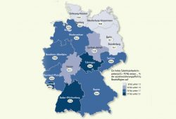 Substituierbarkeitspotenzial nach Bundesländern. Karte: Bundesarbeitsagentur, IAB