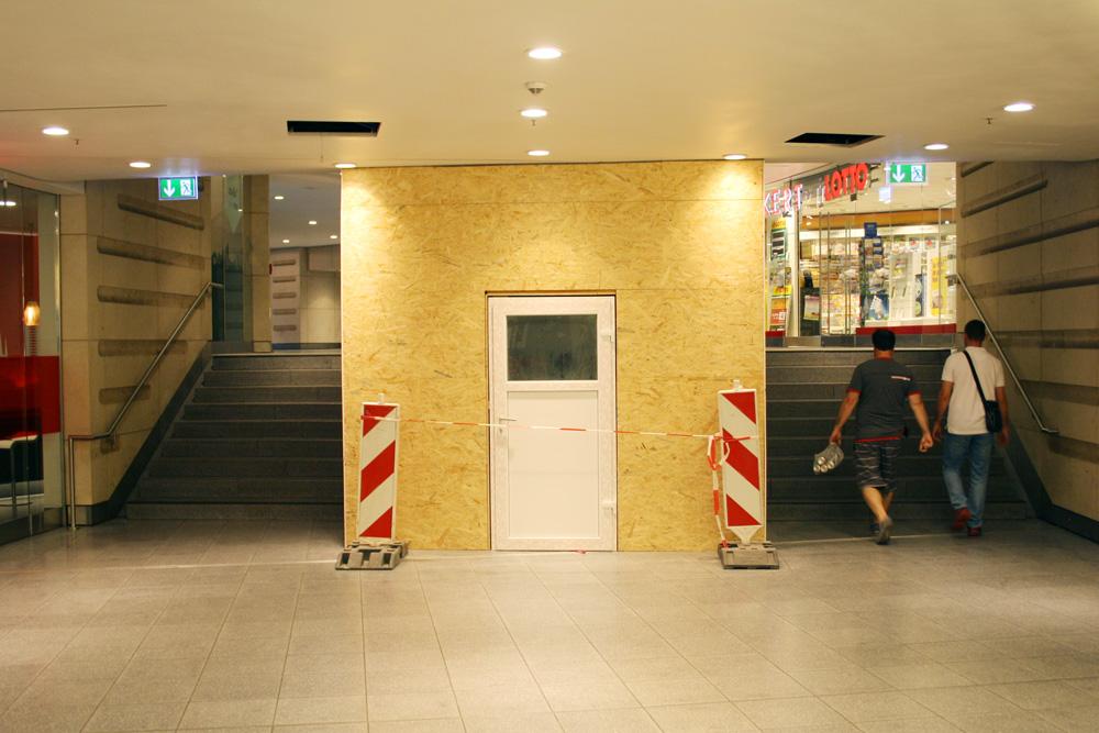 Baustelle für den Lift in der Verteilerebene. Foto: Ralf Julke