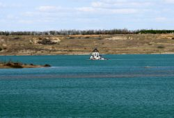 Der Störmthaler See mit Vineta kurz vor Ende der Flutung. Foto: Matthias Weidemann