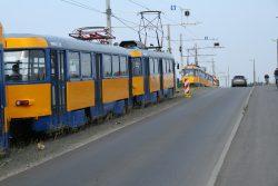 Straßenbahnbegegnung auf dem Damm neben den Antonienbrücken. Foto: Ralf Julke
