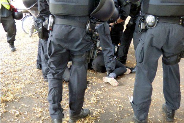 Ein bisschen Trubel gabs dann doch bei einer Festnahme am Rande. Foto: L-IZ.de