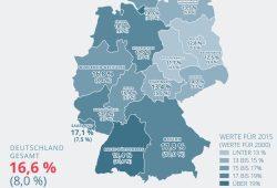 Arbeitende Senioren: Vergleich 2000 und 2015. Karte: GDV
