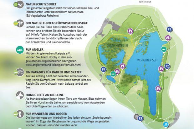Werbeliner See in der Informationsbroschüre des Landkreises Nordsachsen. Grafik: Landkreis Nordsachen / LMBV